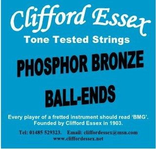 SINGLE PHOSPHOR BRONZE ROUND WOUND BALL-END STRINGS. 46 - 58. MADE IN BRITAIN.