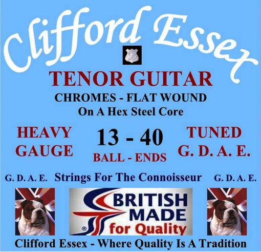 TENOR GUITAR STRINGS. HEAVY GAUGE. FOR G. D. A. E. TUNING. CHROME TAPE FLATS. STUDIO STRINGS. BALL-ENDS.