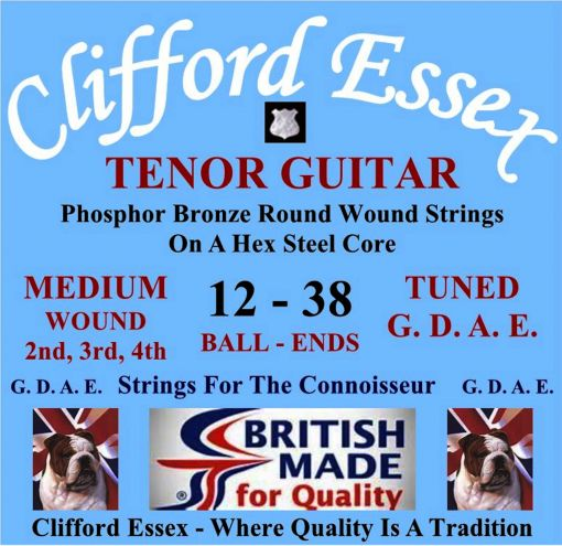 TENOR GUITAR STRINGS. MEDIUM GAUGE. FOR G. D. A. E. TUNING. WOUND 2ND, 3RD & 4TH. BALL-ENDS OR LOOP-ENDS.