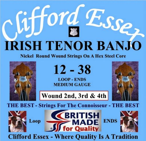 IRISH TENOR BANJO MEDIUM GAUGE. NICKEL OR PHOSPHOR ROUND WOUND SET. 12 - 38. WOUND 2ND, 3RD & 4TH.