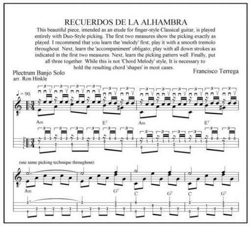 Recuerdos De La Alhambra By Francisco Terrega, plectrum banjo solo arranged by Ron Hinkle, sheet ...