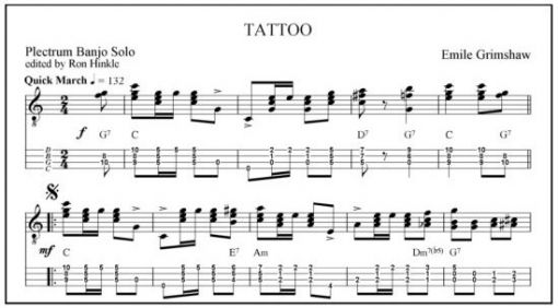 Banjo banjo tablature paper : Tattoo plectrum banjo music in notation and tab. - Sheet music ...