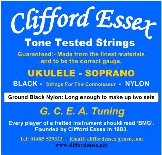 SOPRANO UKULELE. MEDIUM GAUGE. BLACK NYLON TIE-ON.