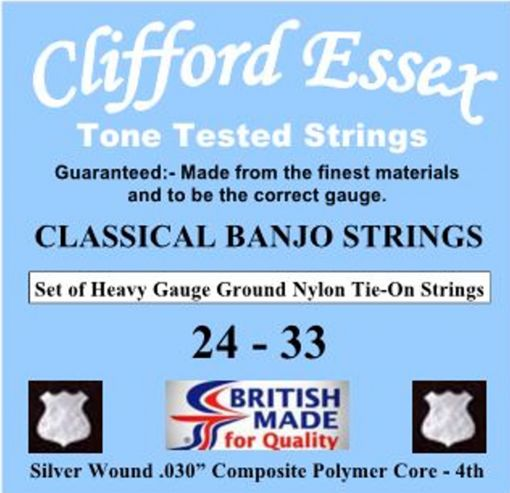 "CLASSICAL BANJO STRINGS. HEAVY GAUGE. TIE-ON. 24 - 33. WITH A .030"" WEAVER 4th."